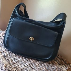 Vintage Coach Taft Black Leather Handbag